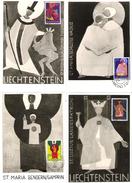 """Liechtenstein 1967/68: 12 MK """"Kirchenpatrone"""" Mit Zu 421-432 Mi 486-494+500-2 Yv 438-445+451-453 Mit ET-o - Cartes-Maximum (CM)"""