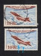 Poste Aérienne N° 30,aile Et Fuselage Bleu, Nuance Couleurs, P A,Variété Variétés - Varieteiten: 1950-59 Afgestempeld