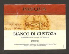 ITALIA - Etichetta Vino BIANCO DI CUSTOZA Doc 2003 Cantina PASQUA Bianco Del VENETO - Disegni Leonardo - Vino Blanco