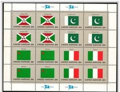 O.N.U. New York: Bandiere, Flags, Drapeaux, Foglietto, Block, Bloc, 4 Pezzi, 4 Morceaux, 4 Pieces - Stamps