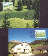 """Liechtenstein 2008: Maximum-Karten Nr.284 """"Weide-Alpen IV"""" Zu 1416-17 Mi 1473-74 Yv 1414-15 - Agriculture"""