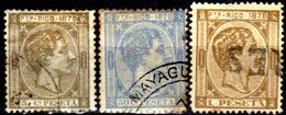 Porto-Rico-0008 - 1878 - Yvert & Tellier N. 18, 21, 22 (o) Used - Senza Difetti Occulti. - America Centrale