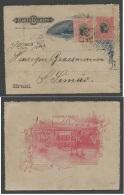 Brazil -Stationary. 1898 (7 April) Ribeirao Preto - S, Simao. 100rs Rose Stat Lettersheet + 100rs Adtl, Cds. Fine.. Cart - Brésil
