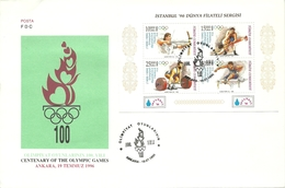 "Turkey; FDC 1996 ""Istanbul 96"" World Philatelic Exhibition (Atlanta Olympic Games) - 1921-... République"