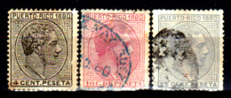 Porto-Rico-0010 - 1880 - Yvert & Tellier N. 34, 36, 38 (+/o) Hinged/Used - Senza Difetti Occulti. - America Centrale