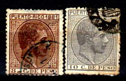 Porto-Rico-0011 - 1880 - Yvert & Tellier N. 52, 53 (o) Used - Senza Difetti Occulti. - Central America