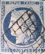 LOT OE/34 - CERES N°4a Bleu Foncé - GRILLE NOIRE - Cote : 70,00 € - 1849-1850 Ceres