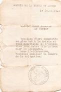 ETAT DE SITUATION DU 13 NOVEMBRE 1943 A LA FERTE SAINT AUBIN - Unclassified