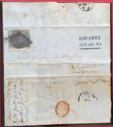 SVIZZERA 1856 LOCARNO 3 APRILE + ANNULLO GRIGLIA SU 10 R. Su Busta Con Testo Per LUGANO - 1854-1862 Helvetia (Non-dentelés)