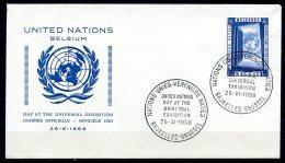 BE  Marcophilie  --  Obl. Mécanique / Machine   ---  EXPO 58  --  Journée Nations Unies / ONU  --  Pli
