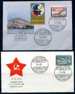 BE  Marcophilie  --  Obl. Mécanique / Machine   --  EXPO 58  --  Journée De La Russsie / URSS  --  2 Plis