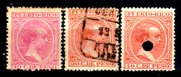 Porto-Rico-0013 - 1890 - Yvert & Tellier N. 82, 83, 84 (+/o/sg) Hinged/Used/NG - Senza Difetti Occulti. - America Centrale