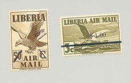 Liberia #C49-C50 Birds 2v Signed On Reverse - Liberia