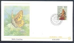 Island Iceland 1985 Cover: EUROPA CEPT Music: Fauna Butterfly Schmetterling Papillon; Baltic Grayling (Oeneis Jutta) - Schmetterlinge