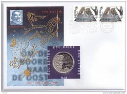Netherlands 1996 Mi. 1593 FDC With ECU Coin, Voyages Of Discovery, Willem Barents, Arctic Navigator - Geography