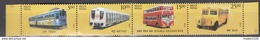 INDIA, 2017,Means Of TRANSPORT, PUBLIC  UTILITY, Set Of 4  Stamps Setenant, Buses, Metro Train, Tram,  MNH (**)