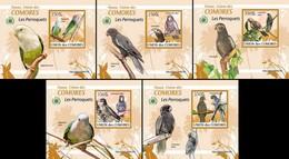 Comoros Comores 2009 Fauna Parrots Birds 5 Lux Blocks MNH