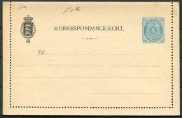 Denmark 4 Ore Postal Stationery Korrespondance-Kort Lettercard - Postal Stationery