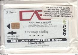 ZAMBIA - Credit Africa Bank Ltd(reverse KLM), Zynex Promotion Telecard 5 Units, Mint - Zambia