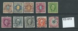 Sweden 1891 10 Values To 1Kr (50ö X 2 Shades)
