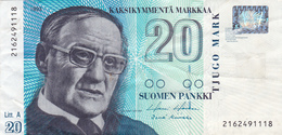 Billet FINLANDE De 1993 TTB 20 Kaksikymmenta Markkaa @ PICK 123 @ Portrait De Vaino Linna - Finlandia