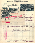 50 - CARENTAN PRES ISIGNY- FACTURE BEURRES BEURRE- LAITERIE LAIT-FROMAGERIE FROMAGE- 1921 - Alimentaire
