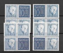 1957 MNH Sweden, Booklet Panes Complete Set Of 4