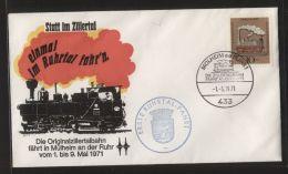 """Bund - MiNr. 604 Auf Sonderumschlag Mit SST """"MÜLHEIM A D RUHR - DIE ZILLERTALBAHN FÄHRT AN DER RUHR"""" 1.5.71 - Eisenbahn - [7] République Fédérale"""