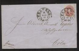 Preussen - MiNr. 16 Als EF Auf Brief, Gelaufen Mit Hufeisen-Stempel CREFELD 14.8.1867