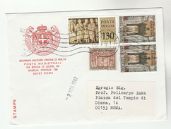 1987 VATICAN COVER From SOVEREIGN MILITARY ORDER OF MALTA To Prof Zaka Rome, Stamps - Vatican