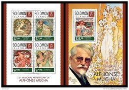 SOLOMON Isl. 2014 - Alphonse Mucha - YT 2164-7 + BF292; CV = 27 €