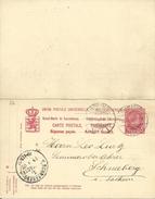 Carte Correspondance - Entier - Stationery - Korrespondenzkarte - No. 62 Carte Double De Luxembourg à Schneeberg / Sachs - Stamped Stationery