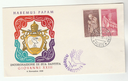 1958 VATICAN Stamps EVENT COVER CORONATION Of POPE GIOVANNI XXIII - Vatican
