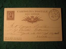 Regno Italia C. 10 Cartollina  Postale     -  28 NOVEMBRE 1881  ANNULLO  MERATE  -  139