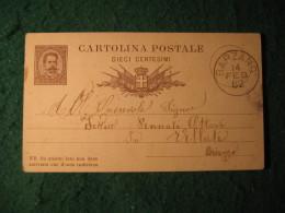 Regno Italia C. 10 Cartollina  Postale     -  14 FEBBRAIO 1882 ANNULLO BARZANO' -  141