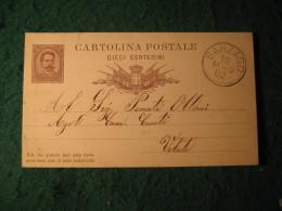 Regno Italia C. 10 Cartollina  Postale     -  10 MAGGIO 1882 ANNULLO BARZAGO -  142