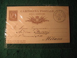 Regno Italia C. 10 Cartollina  Postale     -   15 SETTEMBRE 1880 ANNULLO BARZANO'  -  145