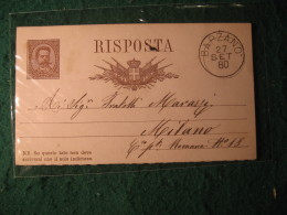 Regno Italia C. 10 Cartollina  Postale     -   27  SETTEMBRE 1880 ANNULLO BARZANO'  -  146
