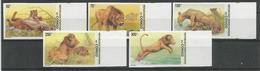 Zaire / Congo Kinshasa / RDC COB 2094/98ND Série Complète Non-Dentelée MNH / ** 2002 COB: 42,50€ Lions