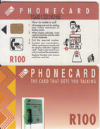 SOUTH AFRICA(chip) - Red Card, CN : TGAD(large), Telkom Telecard R100, Used