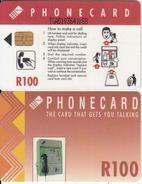 SOUTH AFRICA(chip) - Red Card, CN : TGAD(short), Telkom Telecard R100, Used
