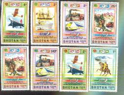 MNH BHUTAN # 164-8 + C27-9 : STAMPS CENTENARY OF UNIVERSAL POSTAL UNION CARS PLANES TRAINS SHIPS - Bhoutan