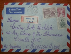 Letter - Cover - Sobre De Checoslovaquia 1956 Enviado A Argentina Certificado - Czechoslovakia