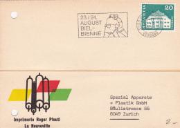Carte Commerciale Réponse De La Firme Imprimerie Roger Pfeuti - La Neuveville - 1969 - Flamme 23 24 August Biel - Suisse