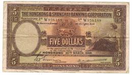 Hong Kong 5 Dollars 1946, Large Note, F/ VF.  Free Ship. To U.S.A. - Hong Kong