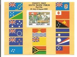 1990 Vanuatu South Pacific Forum Flags Souvenir  Sheet  MNH