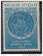 India MNH 1968,  Inter. Geogrphical Congress, Geography, Map, - Nuevos