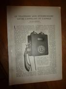 1917 LSELV  :TELEPHONE Sans Intermédiaire Entre Appelant Et Appelé  (par Pierre Gendron Ingénieur-électricien) ; GUERRE - Téléphonie