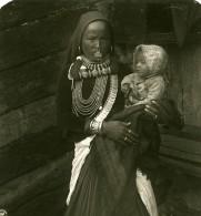 Inde Sikkim Sikhim Himalaya Femme Et Son Enfant Ancienne Stereo Photo Kurt Boeck 1906 - Photos Stéréoscopiques