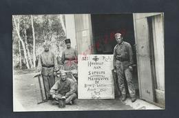 MILITARIA CARTE PHOTO MILITAIRE SOLDATS 121e R.J HONNEUR AUX SAPEURS À BOURG LASTIC 1933 : - Personnages